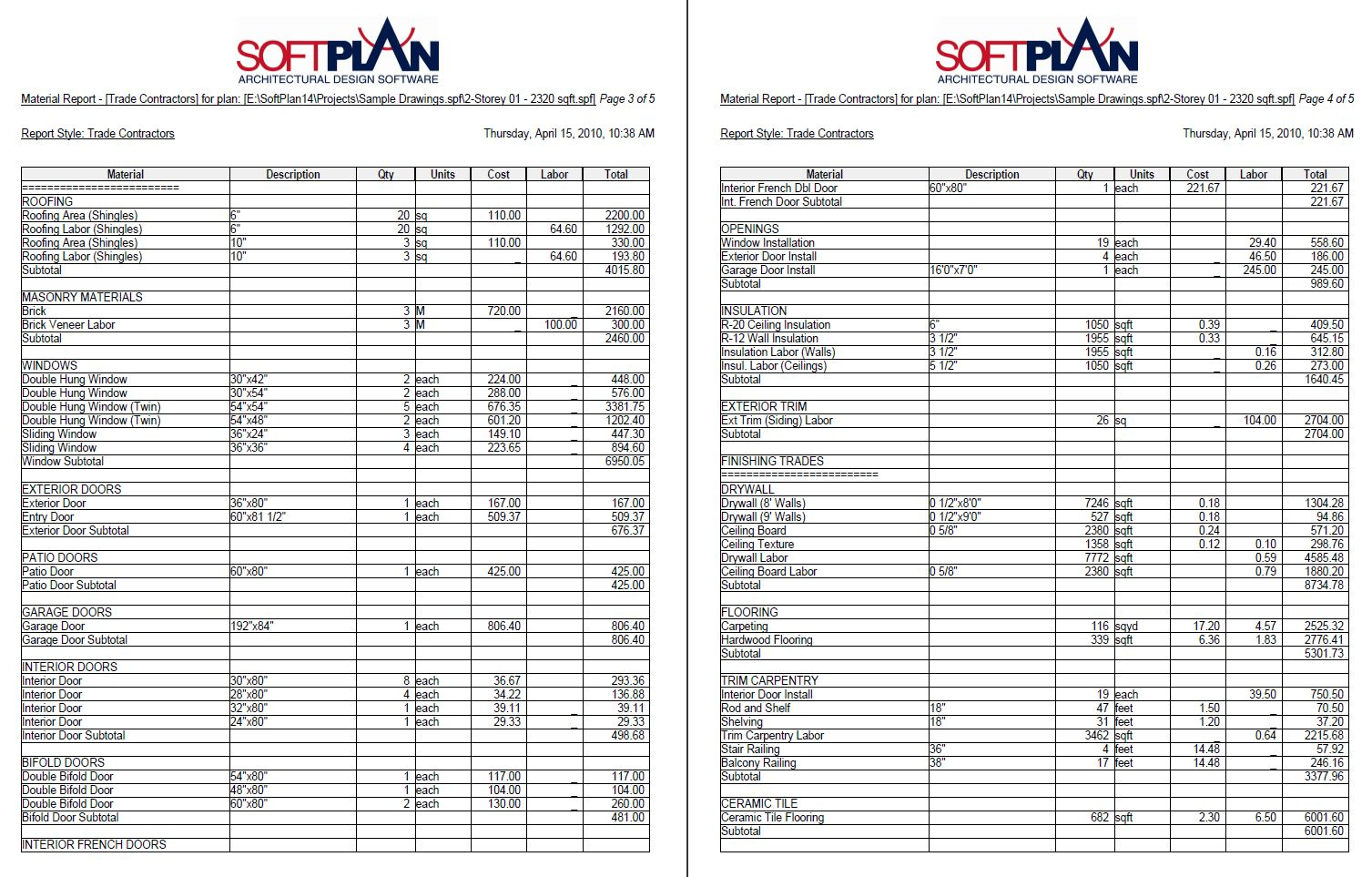 Softplan Samples Softlist Material Reports Softplan